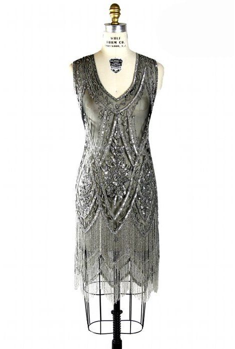 The Charleston Black Silver : Beaded 1920's Style Gowns, Art Deco Gowns, 20's Flapper Fringe Dresses, Vintage Daywear, Hollywood Reproductions..... from LeLuxe Clothing