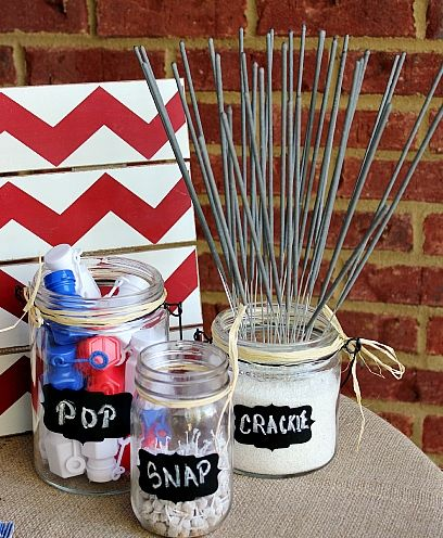 Snap, crackle, pop!  Love this for a Fourth of July party. You can use Avery chalkboard labels or design your own patriotic labels for free at avery.com/print.