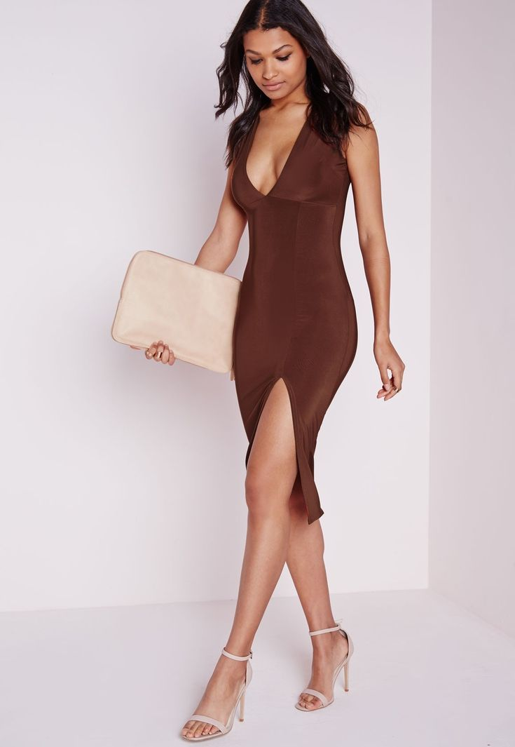 Make a dark brown bodycon dress your outfit choice to create a chic, glamorous look. A cool pair of beige leather heeled sandals is an easy way to upgrade your look.   Shop this look on Lookastic: https://lookastic.com/women/looks/dark-brown-bodycon-dress-beige-leather-heeled-sandals-beige-leather-clutch/22896   — Dark Brown Bodycon Dress  — Beige Leather Clutch  — Beige Leather Heeled Sandals