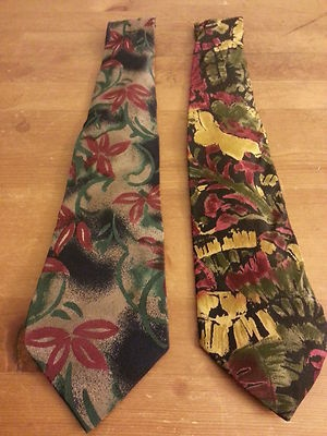 "Vintage, ""Lanvin"" Silk, Multi-color, Floral, Skinny, Neck Ties (63"")  They look cool with you power suit."