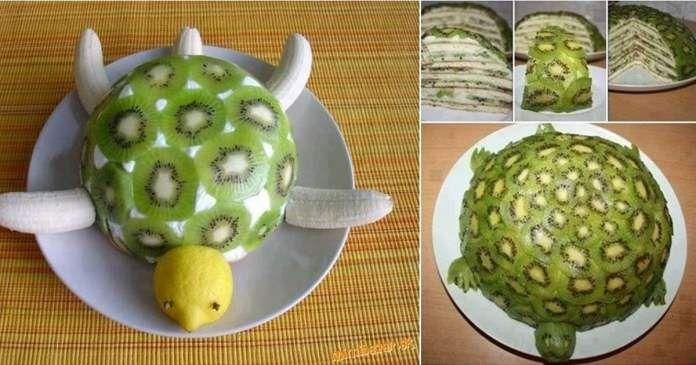 Recept na zdravý kiwi dort ve tvaru želvy - pouze z ovoce