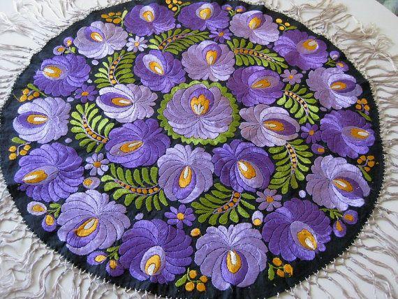 Matyo Purple Silk Embroidered Table Round c by MyVictorianCottage, $65.00
