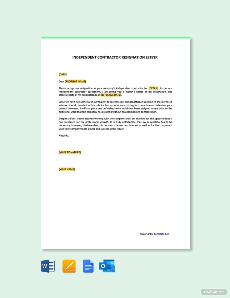 Free independent contractor resignation letter template