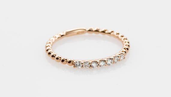 18k Gold Beaded Band Natural Diamonds Solid Gold Band Bead