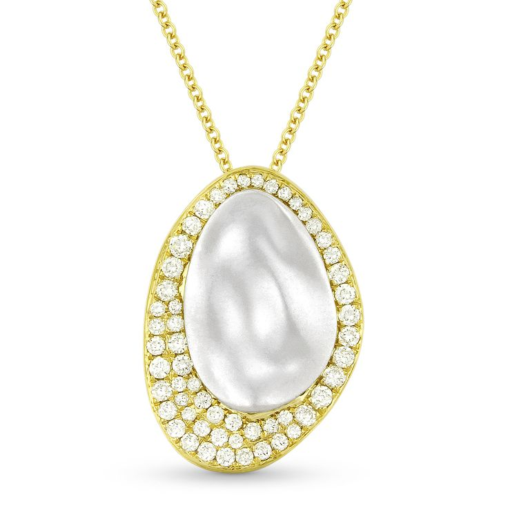 0.41ct Diamond & Hammered Centerpiece Statement Pendant & Chain Necklace in 14k Yellow & White Gold - AlfredAndVincent.com