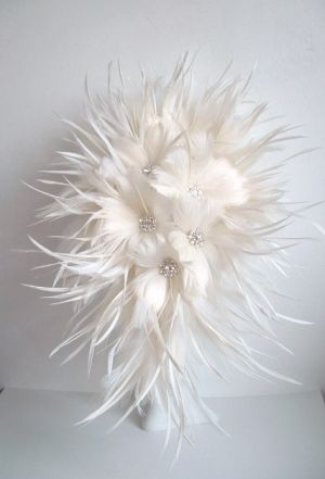 Feather Flower Bridal Bouquet - Off White by murtsss