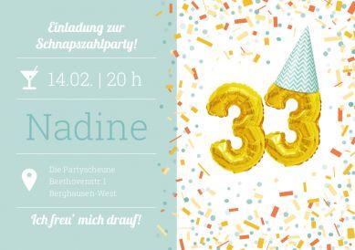 Die Schnapszahl feiern! Witzig-fröhliche Einladungskarte zum 33. Geburtstag mit Konfetti und goldenen Folienluftballons #einladunggeburtstag.de