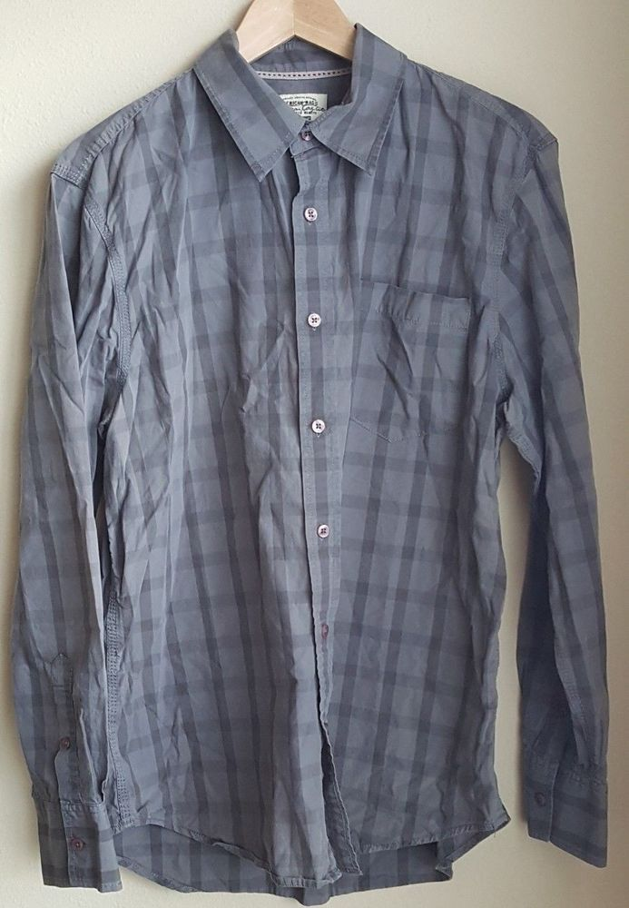 c72a64a69 American Rag long sleeve casual button down shirt size Large gray  embroidered #fashion #clothing #shoes #accessories #mensclothing #shirts  #ad (ebay link)