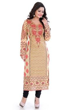 Kurtis,Admyrin,Beige Cambric Cotton Printed Full Sleeves Kurti