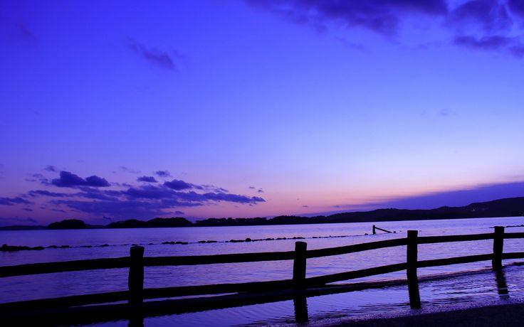 Japón, el mar, cerca, tarde, puesta del sol, azul, cielo lila Fondos de pantalla - 1920x1200