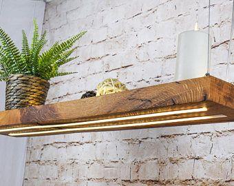 Premium Design LED Hängelampe aus altem Eichenholz