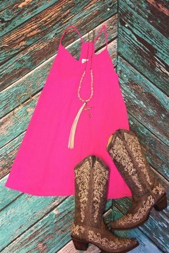hot pink magenta shift dress with cowboy boots summer outfit