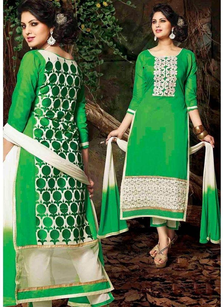 Green Cream Chanderi Cotton Silk Casual Salwar