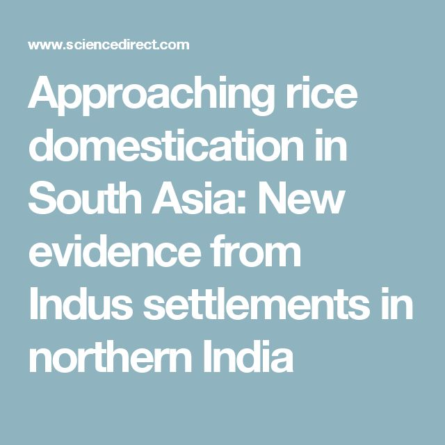 Approaching rice domestication in South Asia: New evidence from Indus settlements in northern India