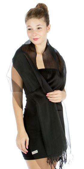 Sheer Black Shawl Wrap Elegant Evening Scarf