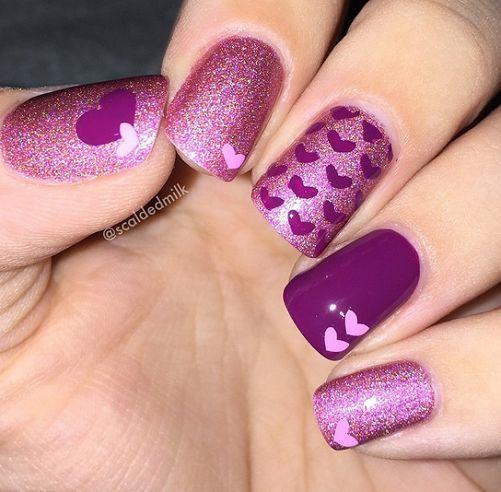 Valentines-Day-Nail-Art-Idea-Purple-sparkly-heart-nails.jpg 501×492 pixeles