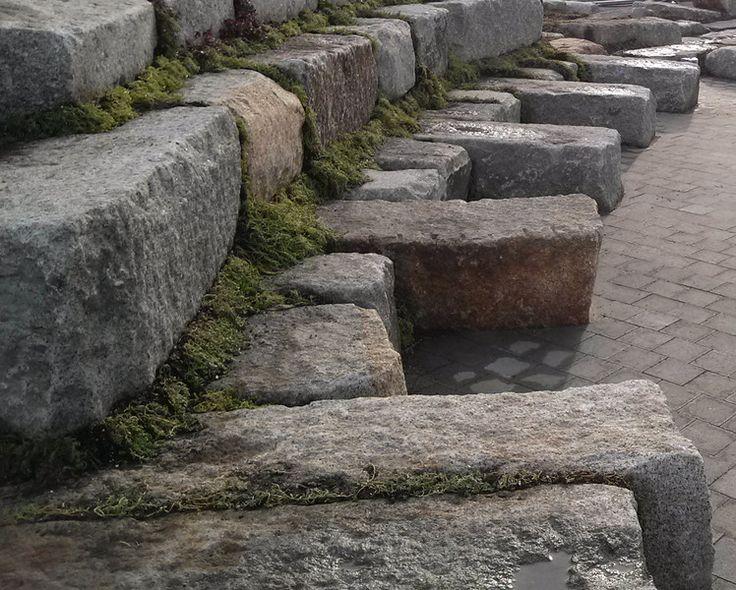 Granite Block Seawall : Reclaimed granite block wall used as approach to dam