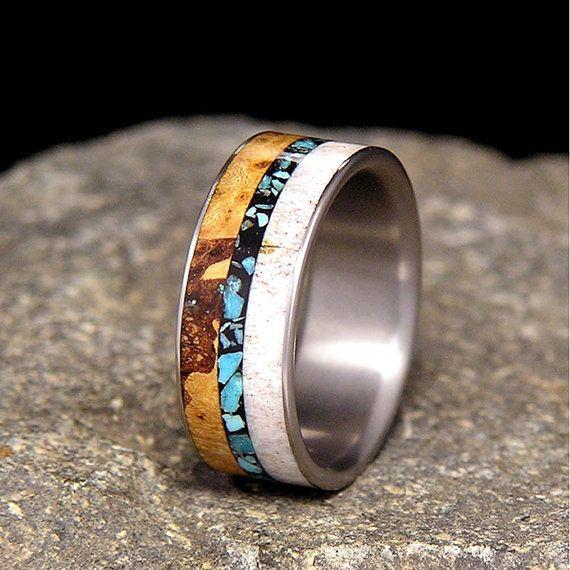 black cherry burl turquoise antler inlay titanium wood wedding band or ring - Deer Antler Wedding Rings