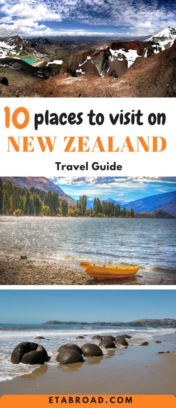 10 best place to visit on New Zeland - Maoraki boulders, Urewera national park, Lake Wanaka, Milford Sound, Lake Tekapo, Golden bay, Arthur´s pass national park, Fox & Franz Josef Glacier, Rotorura, Tongario national park | #NewZealand #travel #bucketlist #wanderlust