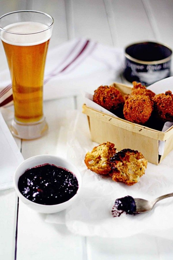 Salmon Hush Puppies with Jalapeno Cherry Chutney #salmon #footballrecipes