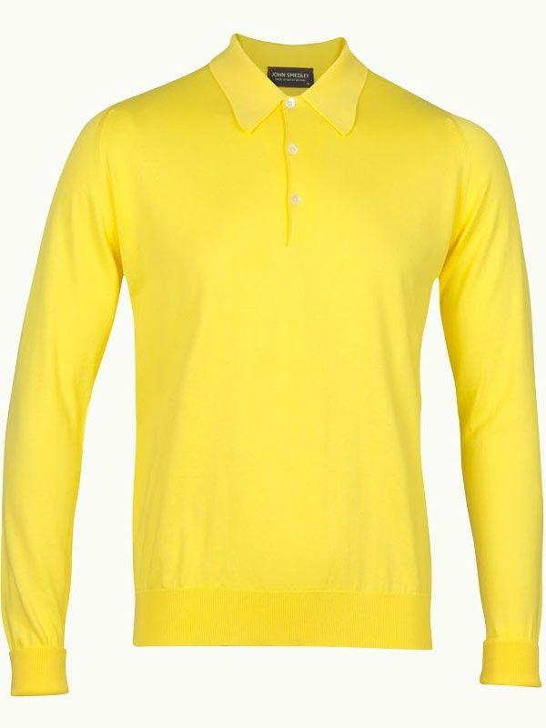 john smedley finchley long sleeve polo shirt canary