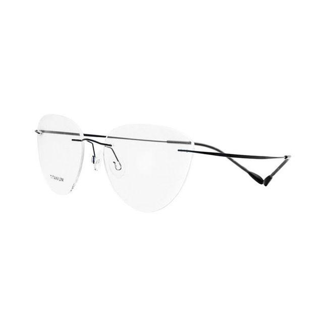 Titanium Rimless Cat Eye Shape Optical Eyeglasses Frame for Women and Men Eyewear Prescription Glasses Frame