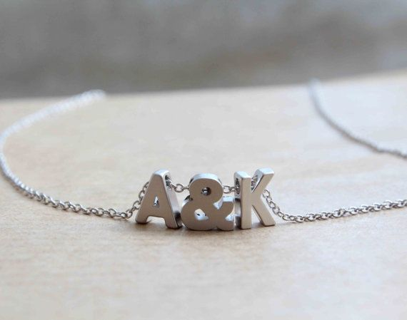 Tiny silver letter necklace . Initial with by lizaslittlethings, $26.00