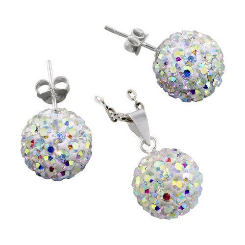 "Sterling Silver and Rainbow White Crystal Glass 12mm Disco Ball Pendant and Stud Earrings Set Avend Concepts. $24.99. Weight: 5.7 gm. Finish: high polish. 925 sterling silver, glass. : diameter: 7/16"" (12mm). Pendant: length: 3/4"" (20mm), width: 7/16"" (12mm). Save 38%!"
