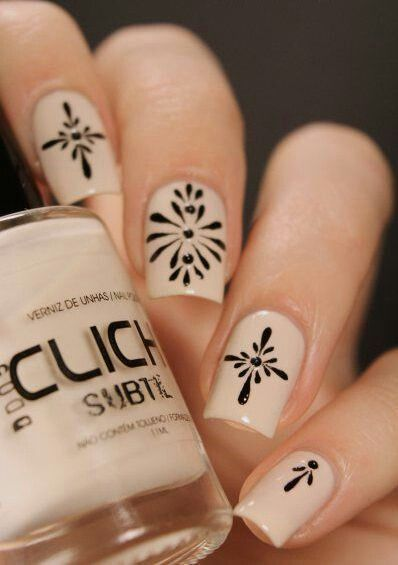 Black Filigree On Nude { Nails Art Ideas For The Subtly Fancy Lady }