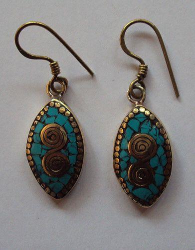 Oval Shaped Handmade Coral and Turquoise Hoop  Earring Set  #Handmade #Earring