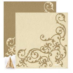 POMP gold/creme  - luxusné svadobné servítky z netkanej textílie, ornament, krémová, zlatá rozmer 40x40