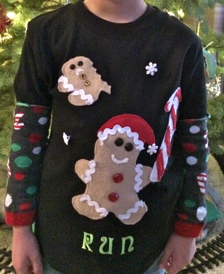 """This year's homemade """"ugly Christmas sweater"""" for my son who likes gingerbread men."""
