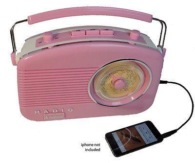 Pink Steepletone Brighton 1950 Retro Style 3 Band Portable Radio FM MW and LW