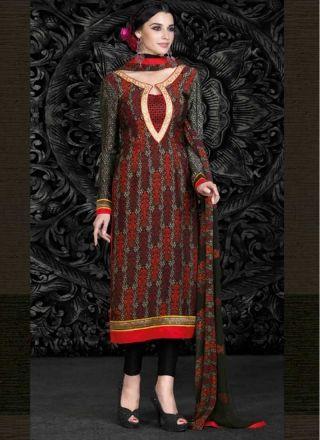 Fancy Black French Crape Patch Border Work Printed  Churidar Suit http://www.angelnx.com/Salwar-Kameez/Churidar-Suits