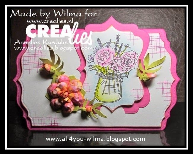 Made by Wilma: https://www.crealies.nl/detail/1275687/15-05-02-wilma.htm & http://www.crealies.blogspot.nl/2015/…/a-pot-with-roses.html Crealies items: On the Edge no. 1 Crea-Nest-Lies XXL no. 6 Set of 3 stansen no. 23 Bloemen 14/Flowers 14 Creative Shapes no. 16 Bits & Pieces no. 11 Sparkle Partz no. 10 Insnijvariant half rond + half schuin/Notches