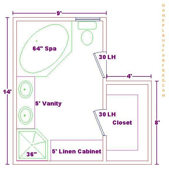 Bath Floor Plan with a 9x14 Size