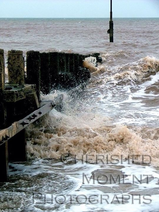 Rough sea at Hornsea beach, England