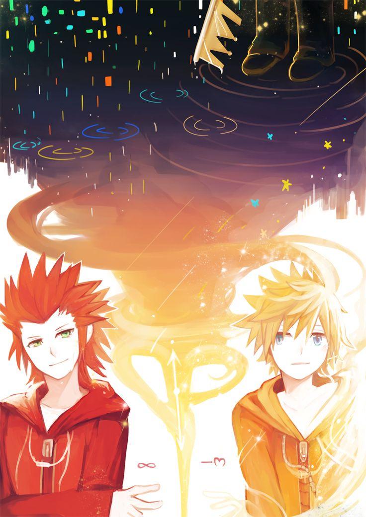 Pixiv Id 1595119, Kingdom Hearts 358/2 Days, Kingdom Hearts, Kingdom Hearts II, Roxas, Axel (Kingdom Hearts)