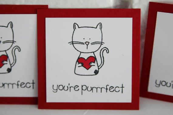 You're Purrfect Cat Valentine Card Set Cat by LaurasPaperCreations