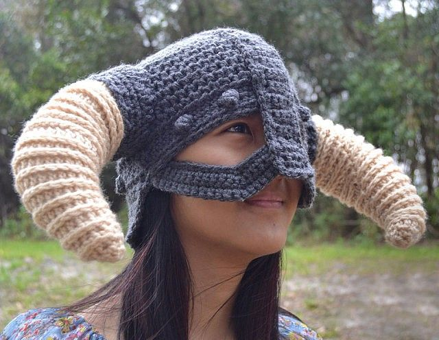 Crochet Skyrim Viking Helmet Helmets, Crochet and Vikings