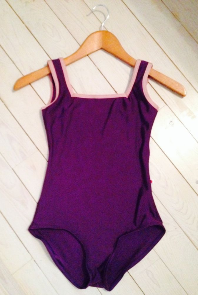 Yumiko Leotard - Marieke - Nylon Plum with Nylon Antique Rose Trim