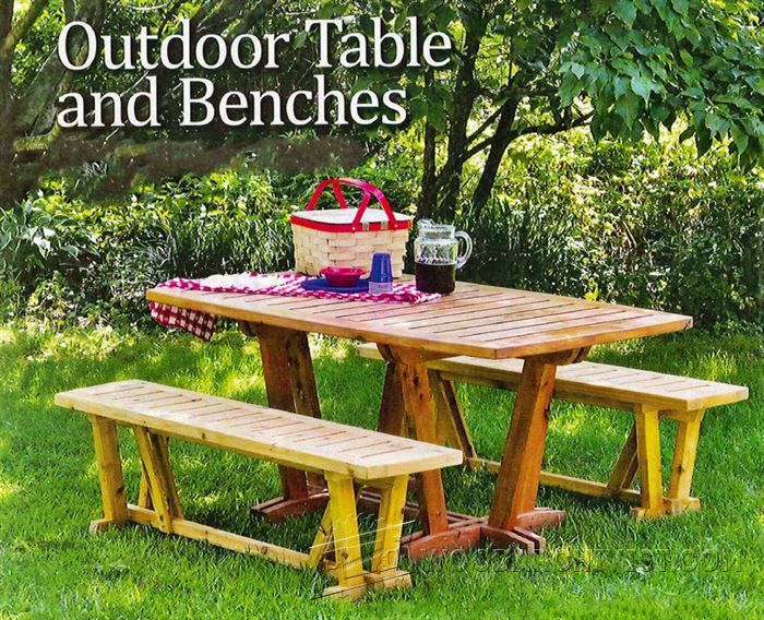 Table And Benches   Outdoor Furniture Plans And Projects | WoodArchivist.com