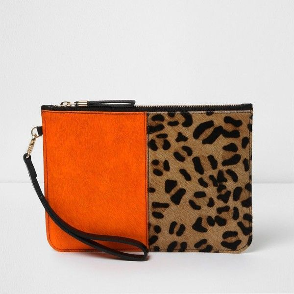 River Island Orange and leopard print leather clutch bag ($40) ❤ liked on Polyvore featuring bags, handbags, clutches, bags / purses, clutch bags, orange, women, leopard print clutches, orange leather purse and orange purse