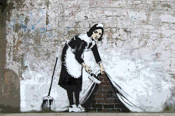 Banksy did this piece of art to prove that not only kings, queens, and popes can be painted, but the lowly in the society can be painted as well.