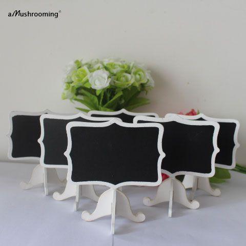 Set von 12 Stücke Phantasie Schild Kurze Lebensmittel-label Weiß hochzeit Schwarze Tafel Stand Tisch Nummer name Karte Buffet Zeichen Marker