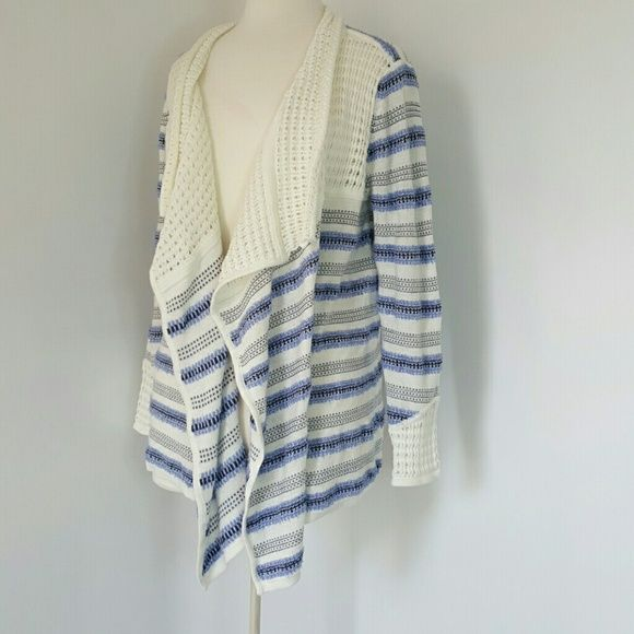 Blue and white cardigan Small knit cardigan. With blue and white stripes. Cuffs and collar have white more open knit. No size tag but I have measured it to be a medium American Rag Sweaters Cardigans