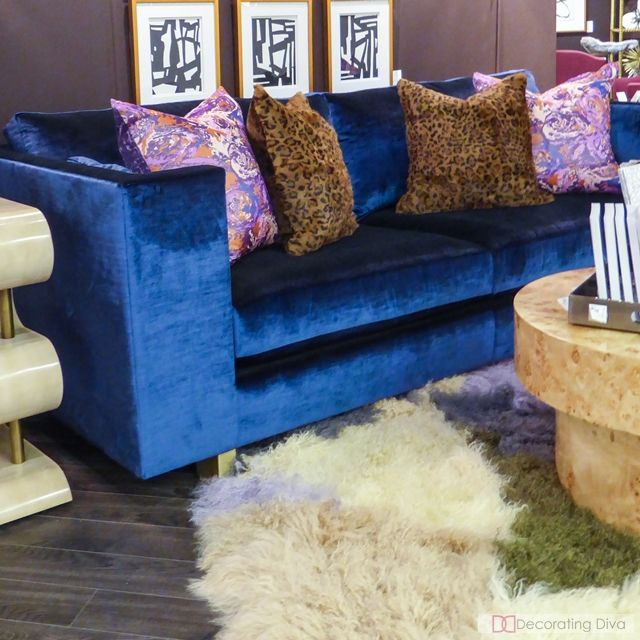 blue velvet tufted sofa for sale sectional deco design corner uk