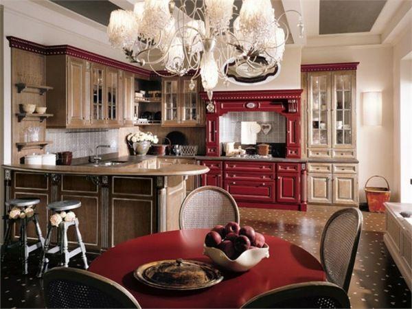 traditionelles küchen design in rot