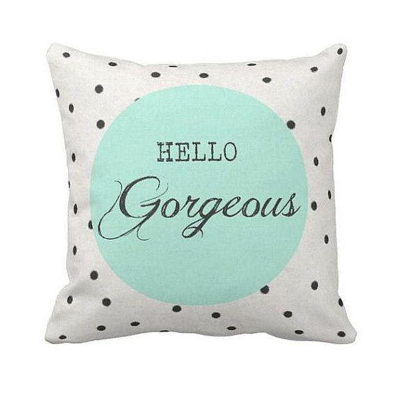 Pillow Polka Dot Mint Green Hello Gorgeous Cotton and Burlap Pillow Cover