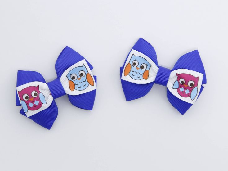 Owl Toddler Pigtail Hair Bows Blue Pigtail Bows Blue Small Hair Bows Owl Hair Bows Blue Toddler Hair Clips Owl Baby Bows 2 Inch Hair Bows